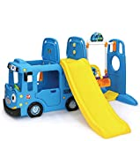 RICCO 3-in-1 Indoor Outdoor Bus Climb and Slide Kids Toddler Nursery Activity Role Play Centre with Door and Saddle (BLUE+SWING OPTION)
