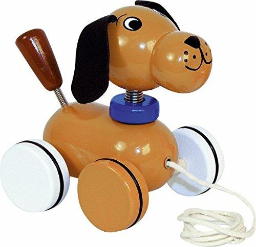 Ziehtier / Ziehfigur / Nachziehtier - Hund Tier Holzfigur - aus Holz BUNT Wackeltier - für Kinder Mädchen & Jungen - Nachziehfigur / Hinterherziehen Hinterherziehfigur zum Laufen lernen
