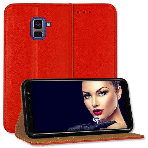 mtb more energy® Leder-Tasche Bookstyle für Samsung Galaxy A8 2018 (SM-A530, 5.6'') | rot | Echtleder | Schutz-Tasche Wallet Folio Cover Hülle
