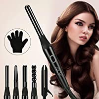 Abody 5-IN-1 Curling Wand Tong Irons Set,Professional Hair Curling Wand Hair Straighteners Hair Wavers with 5 Interchangeable Ceramic Barrels for All Hair Types,With Heat Resistant Glove for Safe Use