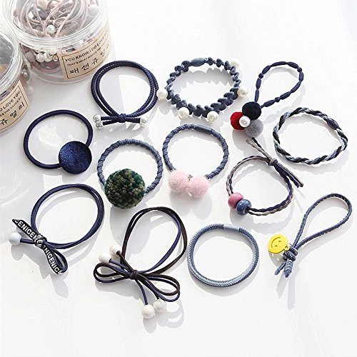 aubess 12/Set Mädchen Haar Seil Haarband Frauen Perle Schleife Ball hohe elastische Gummi Bands Hairball Haar Ring Haar Zubehör