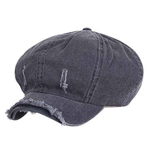 Ililily 8-Panel Vintage Distressed Cotton Newsboy Cabbie Flat Hunting Hat