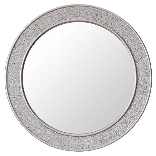 Glamour by Casa Chic Espejos Redondos - Espejo Mosaico de Pared Plateado para baño o habitación - Espejo Redondo - Madera sólida - Grande - 60 cm de diámetro - Plata Brillante