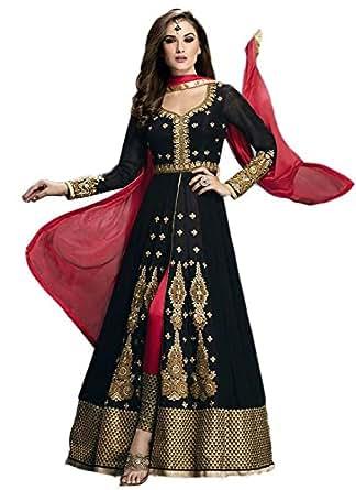 Market Magic World Women's Black Georgette Anarkali Unstitched Free Size XXL Salwar Suits Sets Dress Material (Indain Clothing New Dresses)