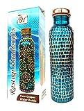 Rastogi Handicrafts New Creation Copper water Bottle for Ayurveda Heath Benefit Hand Hammered Tumbler (blue)