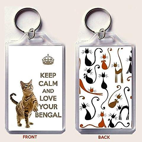 KEEP CALM LOVE YOUR Bengala Portachiavi con immagini di un unico compleanno Cat. per riempire la del Bengala Calza di Natale o come regalo per un Shorthair Cat Lover.