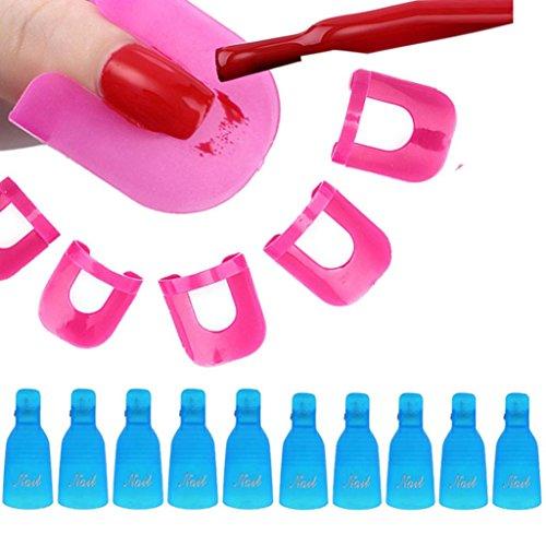 Tonsee 10Pcs Nail Art Soak Off Cap clip UV Gel Polish Remover Wrap+26pcs Nail Modèle Spill Protector manucure Preuve Outils, Bleu