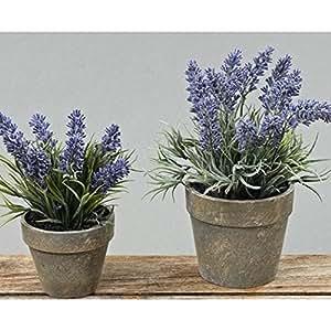 Lavendel im Topf, Kunst-Lavendel, Lavendel Kunstpflanze, 1 Stück, ca. 15 cm x 15 cm x 17 cm