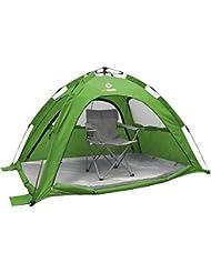 outdoorer SunSnapper grün - die automatische Strandmuschel mit UV80 UV-Schutz; 3 Fenster und 4 Türen