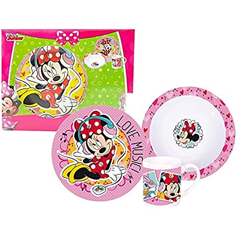 Walt Disney Minnie Mouse 3piezas Porcelana Vajilla infantil