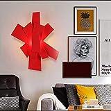 WXL Kreatives Wohnzimmer Nordische Wandlampe Schmiedeeisen, Korridor, Schlafzimmer, Studie, einfache Esszimmerlampe, künstlerischer Persönlichkeitsraum CGZW (Farbe : Red)