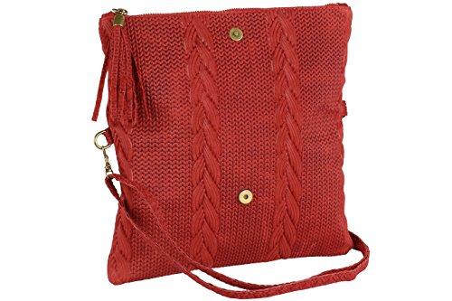 Emmy accessoires Michelle WILD FLECHT- Clutch/ Abendtasche Wildleder Hellgrau Strickoptik Rot