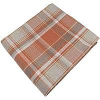 McAlister Textiles Heritage Decorative Tartan Check Plaid Sofa Chair Bed Runner | Soft Woven Wool Textured Check Plaid Plaid Terracotta Burnt Orange & Grey Throw | 50 x 240cm