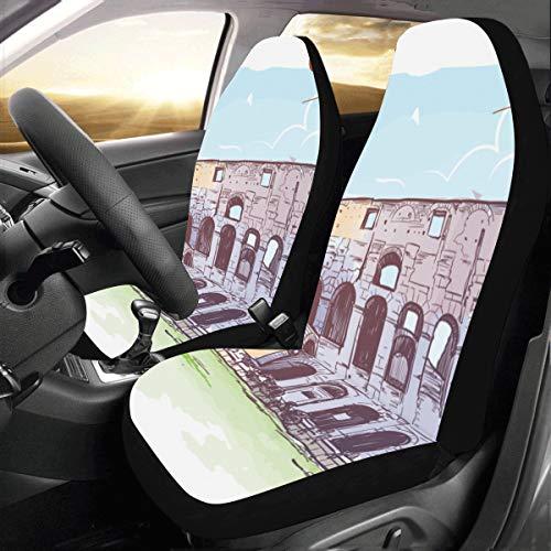 JOCHUAN Coprisedili per Auto Famosi Colosseo a Roma Italia Universal Fit Coprisedili per Auto Auto protettivi per Camion Auto SUV Veicoli Donne Lady (2 Anteriori) Coprisedili per Auto per Bamb
