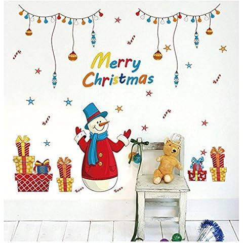Homecube Sticker Decal Rimovibile Fai da te Buon Natale Rosso Renna Snowflake 3D Arte Murale in Vinile Impermeabile Adesivi Murali Decorazione per Vetro Finestre Delle Camere (Pupazzo di