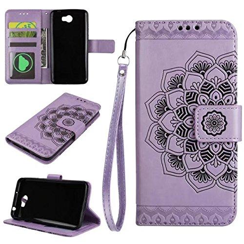 YHUISEN Huawei Y5 II/Y6 II Compact Caso, Diseño de media flor en relieve [correa de muñeca] Premium PU cuero cartera bolsa Flip Stand caso para Huawei Y5II/Y5 2/Y6II Compact ( Color : Purple )