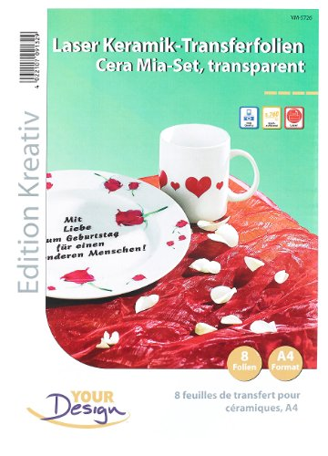 Your Design Keramikfolie: 8 Cera Mia Keramik-Transferfolien DIN A4 transparent für Laserdrucker (Tassen selbst bedrucken Folie) Tasse Pearl