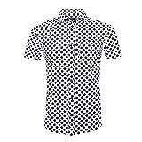SOOPO Herren Modern Kent-Kragen Businesshemd mit Zarte Punkte Schwarz XL