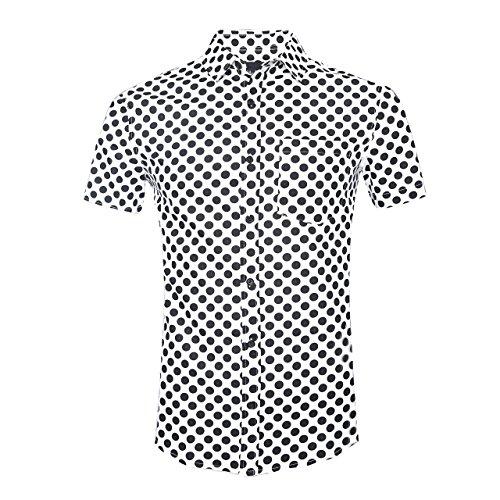 SOOPO Herren Modern Kent-Kragen Businesshemd mit Zarte Punkte Schwarz M (Punkt Kragen, Button-down-shirt)
