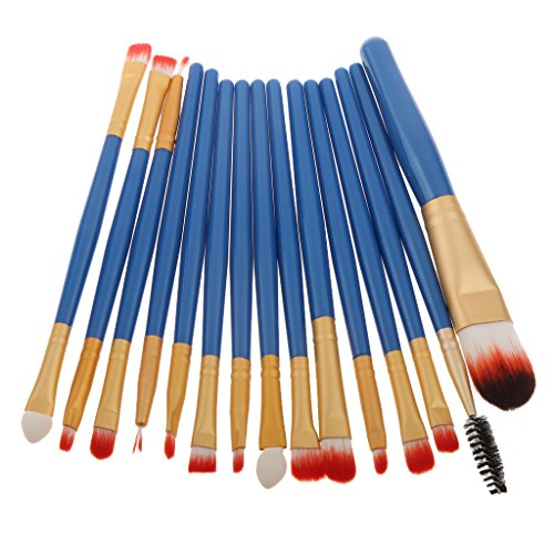15pcs Makeup Brosse Eyeshadow Foundation Facial Brush Sourcils Cils Contour de Yeux - blue Gold, 17,5 x 10 x 2 cm