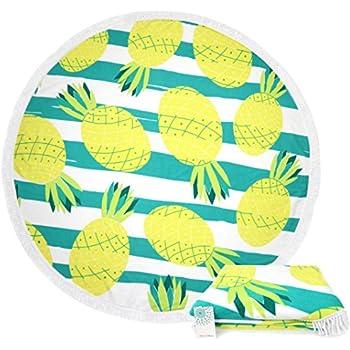 c988b78ae0463 Leana Collection Serviette De Plage Ronde Tapisserie avec Frange Mandala  Épaisse Coton Ultra-épais Tapis Mat Yoga Hippie Beach Ete Cadeau