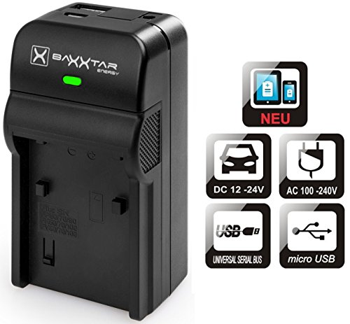 Baxxtar Razer 600 II Ladegerät 5in1 - kompatibel für Akku Canon LP-E6 LP-E6N - (MicroUSB Eingang/USB-Ausgang)