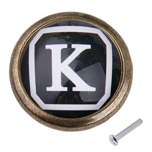 Jahrgang Knöpfe Griffe Knopf Kabinett für Tür Schublade Kommode Hardware Buchstaben - K (Kommode Schublade Ziehen Hardware)