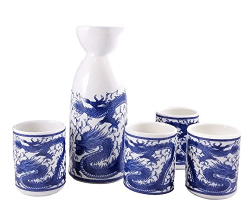 Happy Sales Royal Dragon Japanese Sake Set, White and Blue by Happy Sales -
