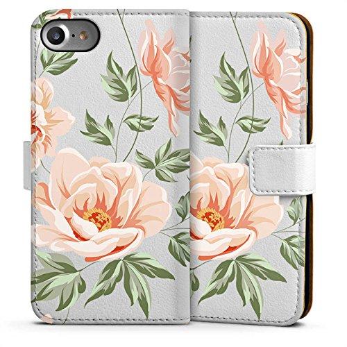 Apple iPhone 4 Silikon Hülle Case Schutzhülle Blume ohne Hintergrund Flower Sideflip Tasche weiß