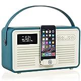 VQ Retro Mk II DAB & DAB+ Digital Radio with FM, Bluetooth, Apple Lightning Dock & Alarm Clock – Teal