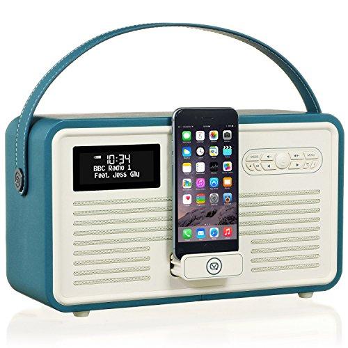 VQ Retro Mk II DAB/DAB+ Digital- und FM-Radio mit Bluetooth, Apple Lightning Dock und Weckfunktion - Krickente