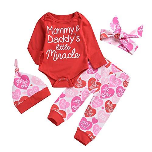 Shiningbaby Babykleidung Set Mommy's Daddy's Little Miracle Bedruckter Strampler Love Hearted Hose und Stirnband 3-teiliges Outfit (Mommy, Daddy Und Baby Kostüme)