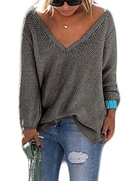 Mujer Moda Casual Blusa Manga Larga Camisa Camiseta Con V-Cuello flojo crochet Tops Color Sólido Cálido