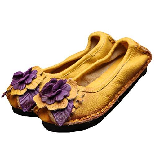 Vogstyle Femme Fleur en Cuir Slip-on style-7 jaune