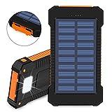 Flower205 Cargador Solar Portátil USB dual10000mAh Batería LED de luz de Emergencia para Panel Solar Alta Conversión Batería Externa Power Bank Cargador de teléfono móvil