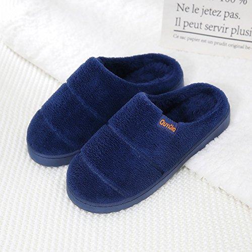 DogHaccd pantofole,Il cotone pantofole coppia femminile di spessore in autunno e inverno shoes home piano non - Slittamento calda coperta di cotone felpato trascina gli uomini Blu navy