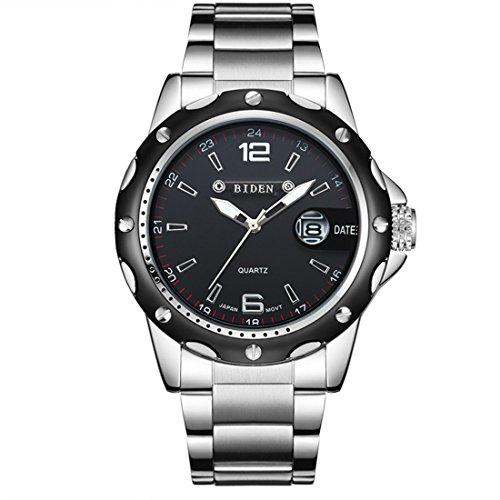 Uhren, Männer Uhren Schwarz Edelstahl Armbanduhr für Männer Quarz Kleid Casual Analog Uhr Geschenk Männer