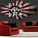 xkkzka Senza Telaio One Set 5 Panel Anime One Piece Logo Bandiera Giapponese Poster Modern Artwork Bedroom Wall Decor Stampe su Tela di Alta qualità-A