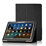 XIDO Slim Folio Hülle Case Tasche, Kompatibel für Yuntab 10.1 Zoll (K17 / K107) 3G Tablet / ACEPAD 10.1 Zoll (A140 / A121 / A101) / Artizlee 10.1 Zoll (ATL-31 / ATL-21X) / XIDO Tablet (Z120/3G / X110/3G) X111 (with Flash) Android 5.1 / BEISTA Tablet PC 10 Zoll / LNMBBS Tab 10 / Anteck 10 Zoll / Cewaal 10-Zoll-Tablets (Schwarz)
