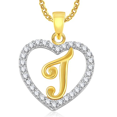 Meenaz 'J' Letter Heart With Chain Gold Plated In American Diamond Pendant Locket Alphabet For Women And Men Cz Ps403