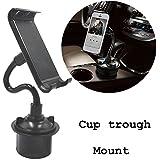 coscod Tablet Cup Mount Holder Soporte de coche Kit, 360º Rotación Flexible teléfono móvil/ipad ajustable Swing Extended taza soporte para coche o camión o barco