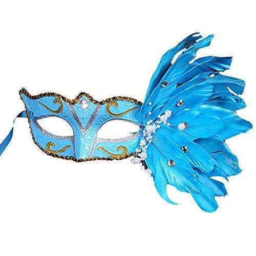 Maske Feder Kostüm Blauen - Foroner Frauen venezianische Maske Maskerade Kostüm Party Prinzessin Feder Masken (Blau)