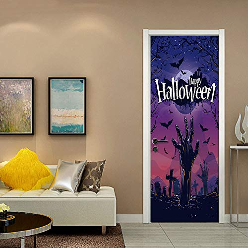 (GSYDWSJTZ 2pcs Halloween Zombies Klettern Aus Dem Friedhof Kreative 3D Tür Aufkleber Persönlichkeit Holztür Dekoration Wandaufkleber)