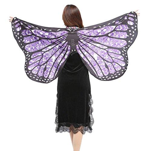 Kostüm,Beikoard 147*70CM Frauen Butterfly Wings Schmetterling Flügel Schal Schals Damen Nymphe Pixie Poncho Kostüm Accessoire für Show / Daily / Party (Violett 2) (Was Ein-und Zwei-halloween-kostüme)