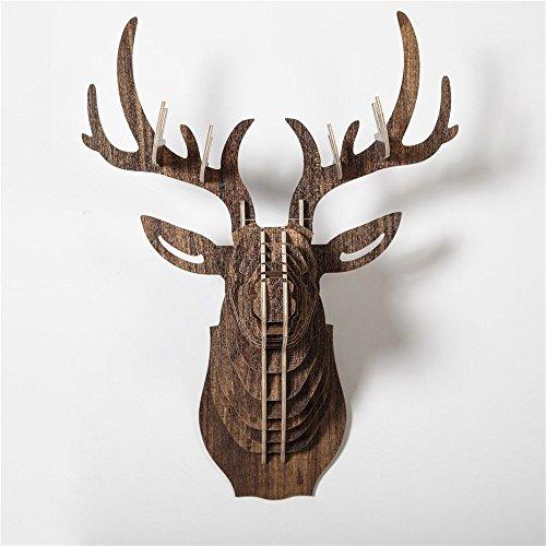 Cerf Décoration Murale Kit de Puzzle, HROOME 3D Moderne Mur Art Trophée Bois Sculpture de Tête de Créatif Tenture Tête D'animal Déco