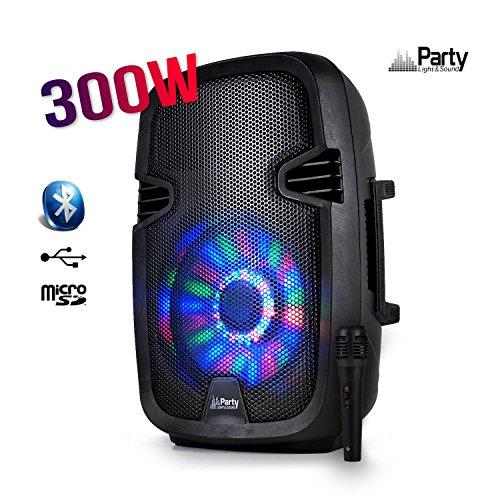 "Enceinte mobile amplifiée 8"" 300W à LEDs RVB USB/BLUETOOTH/FM/SD/MICRO"