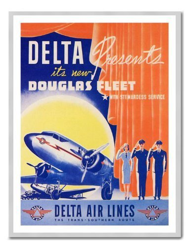 delta-air-lines-douglas-dc2-1940er-travel-memo-board-magnet-silver-gerahmt-41-x-31-cms-ca-406-x-305-