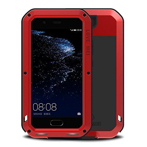 Huawei P10 Hüllen, Love mei Mächtig Leistungsstarke Schwerlast Hybride Aluminium Metall Rüstung Stoßfest Schneesicher Schmutzabweisend Staubdicht Schalen Case für Huawei P10 5.1 Zoll (P10, Rot) Rot