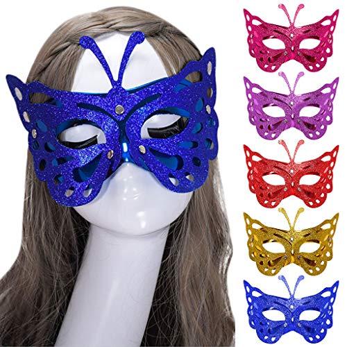 Beautynie Venezianische Maske Augenmaske Schmetterling Masken Venedig Maskerade Damen Halloween Karneval Cosplay Partei Abendkleid Tanz Damen Gesicht Augenmaske Spitze Sexy Party Kostüm (Gelb)