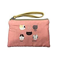 Retro Canvas Small Wallet Coin Purse Pouch For Key Money Changes Case Bag Gift Day Clutch With Zipper (Pink 5 Cats)